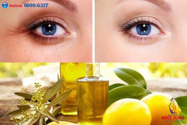 Trị thâm mắt bằng dầu oliu và chanh