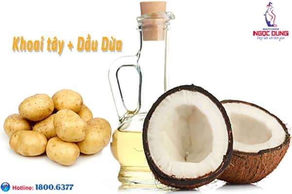 Trị thâm quầng mắt với khoai tây và dầu dừa