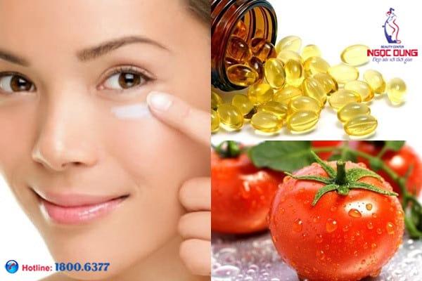 Vitamin e và cà chua trị thâm quầng mắt