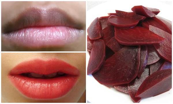 Trị thâm môi bẩm sinh bằng củ dền