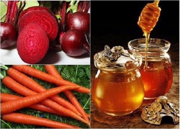 Trị thâm môi bằng củ dền cà rốt và mật ong