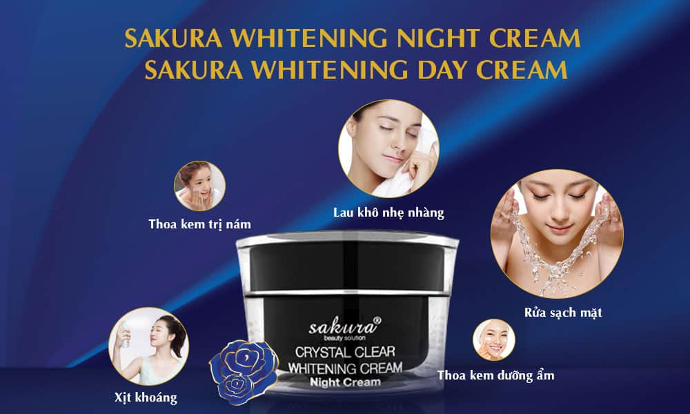 Sakura Whitening Night Cream và Sakura Whitening Day Cream
