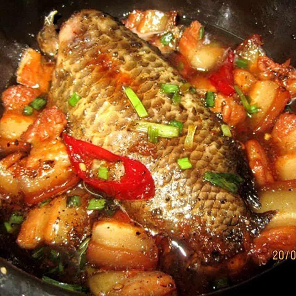 Cá rô kho thịt ba chỉ