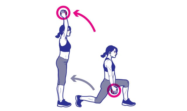 bai tap giam mo bung Lunge with dumbbell press