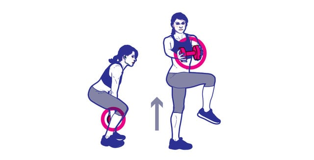 Bài tập giảm mỡ bụng Squat with knee raise and twist