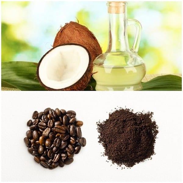 tẩy tế bào chết bằng bã cà phê và dầu dừa